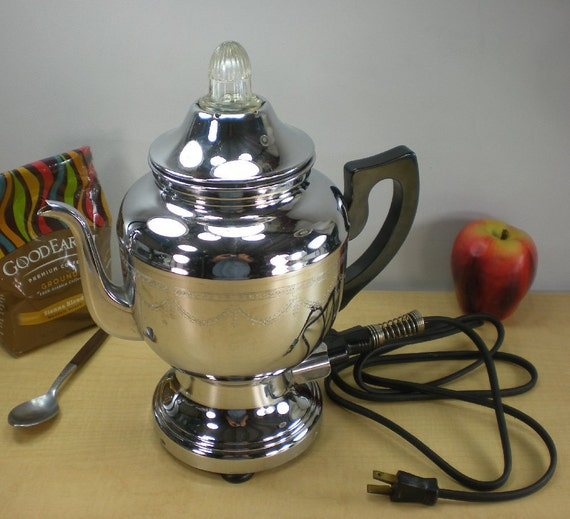 1930s Chrome Farberware Coffee Percolator No 206 By