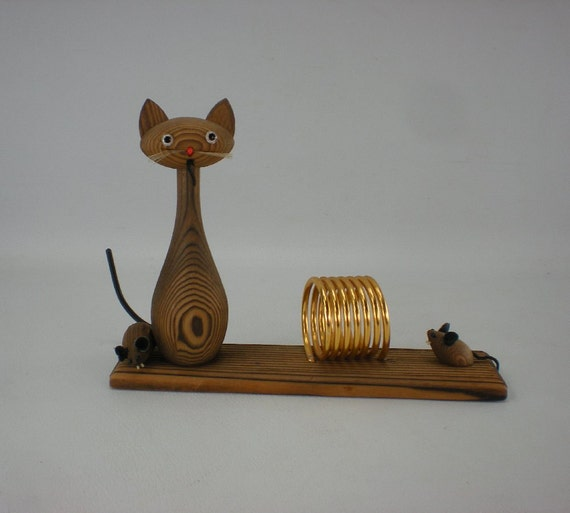 Cat Mouse Wood Letter Holder - Mid Century Japan Whimsy