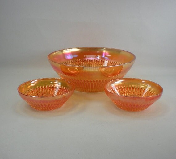 Jeannette Carnival Glass ANNIVERSARY Console Bowl and Candlesticks - Marigold Orange