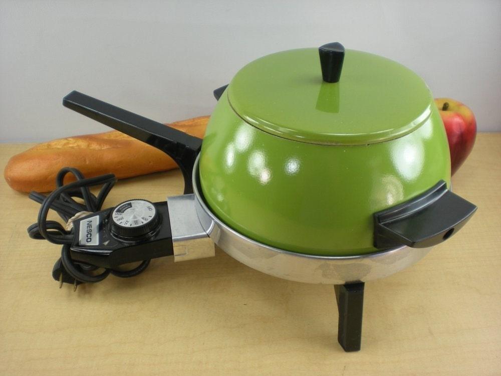Nesco Hoover Heavy Electric Fondue Pot Retro Green Mod Vintage