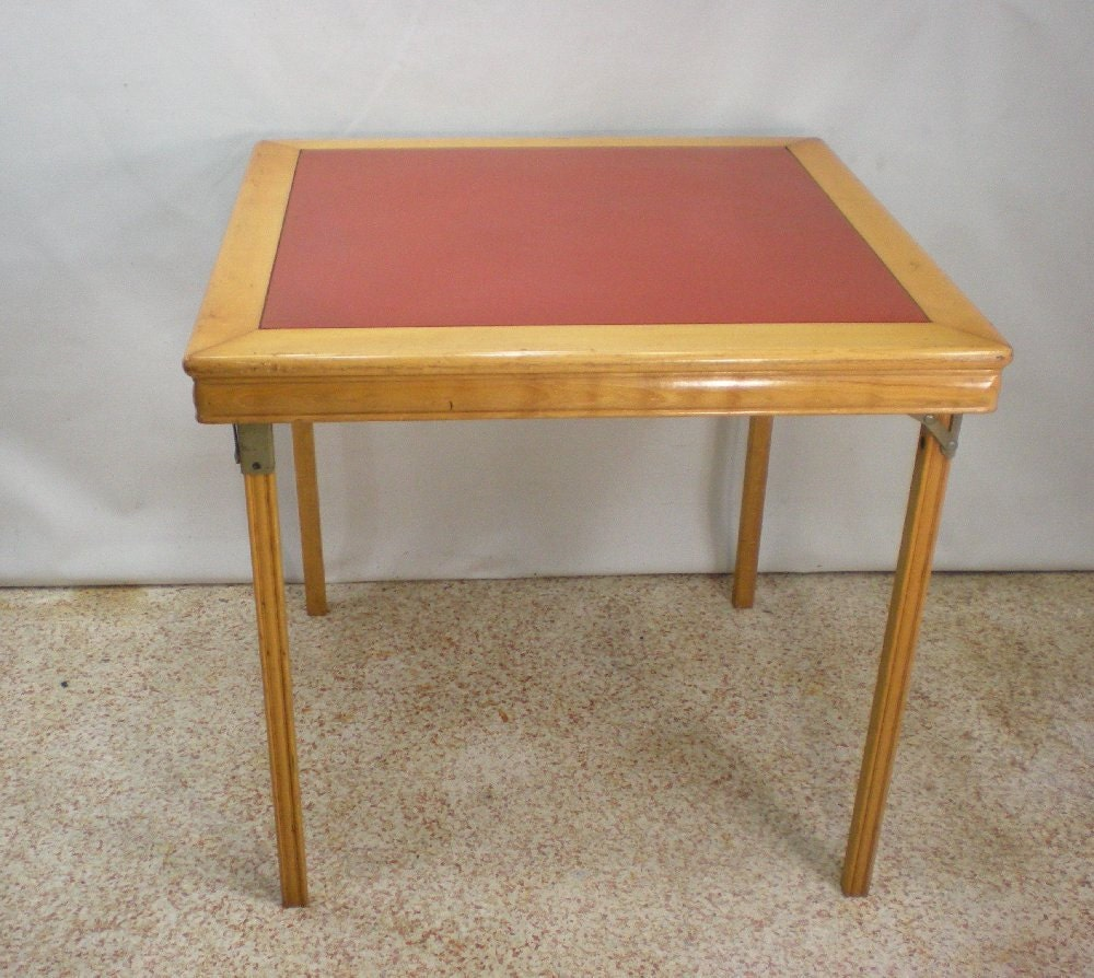 Vintage Leg-O-Matic Folding Card Table Coral Red by OldeKitchen