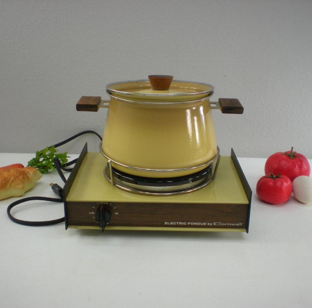 Cornwall Electric Fondue Pot Retro Harvest Gold