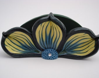 Yellow, Green, and Cyan Blue Polymer Clay Business Card Holder