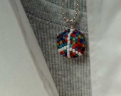 Beadwork necklace - peyote stitched peace bead pendant