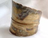Beautiful Fold Formed Hammered Brass Bracelet