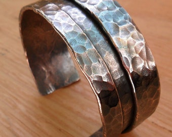 Men or Womens Hammered Copper Cuff Bracelet with Deep Folded Lines