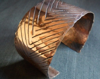 Large Copper Textured Lined Mens Womens Cuff Bracelet