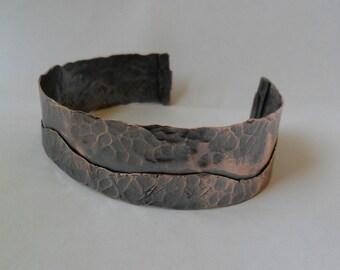 Catch the wave mens or womans copper cuff bracelet