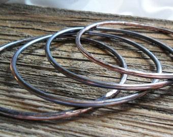 4 Simple Copper Bangle Bracelets