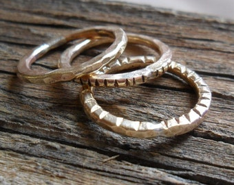 Rings Three Ways Was The Morning, stacking rings, brass rings, simple thin ring, textured rings, 3 rings, mens ring, womens ring