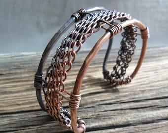 Bracelet   Woven Copper Wire Work Cuff Bracelet
