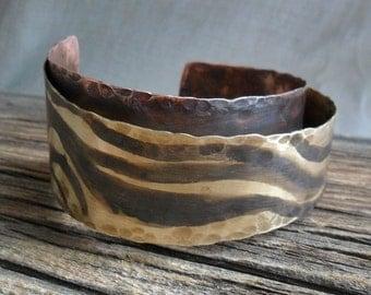 Zebra Print Brass and Copper Cuff Bracelet  original design