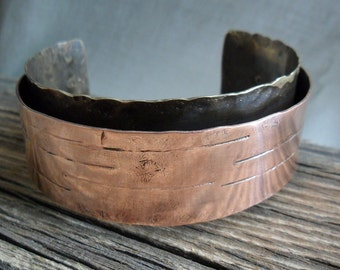 Copper Brass Banded Textured Cuff Bracelet