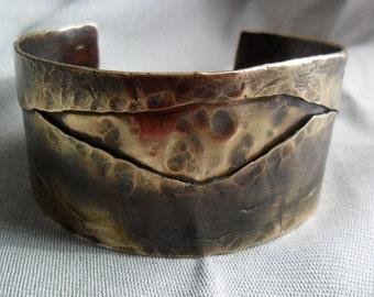 A River Runs Through It Brass Cuff, Brass Cuff, Folded Brass Cuff Bracelet, Mens Cuff, Womens Cuff