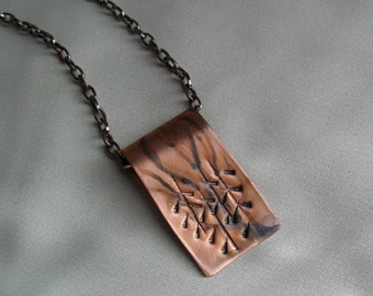 Rolled Copper Textured Necklace