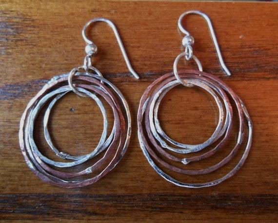 Sterling and Copper Hammered Hoop Earrings