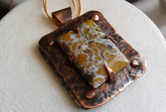 Special order only for Leeanne.    Stone Canyon Jasper Riveted on Steel Necklace