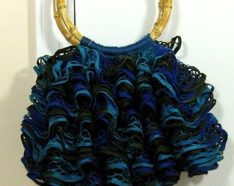 The Ruffle Purse in Blue Brown & Teal