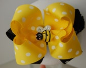 NEW NEW NEW-BUMBLE BEE DOUBLE LAYER BOUTIQUE BOW WITH MATCHING HEADBAND