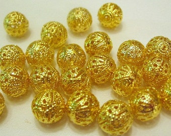 Gold Plated Round 10 mm Filigree Spacer Beads