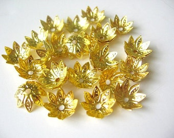 Gold Plated Filigree Bead Caps - 30 Piece - 10 mm