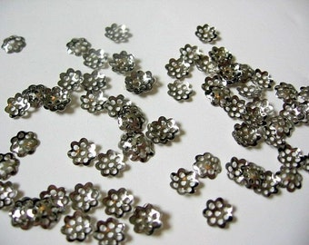 Silver Plated Filigree Bead Caps 6mm 100 piece