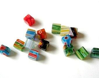 Cube Shaped Millefiori Glass Beads