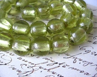 Light Green Foiled Glass 14mm Round Beads