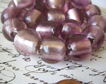 Pink  Foiled Glass 14mm Round Beads
