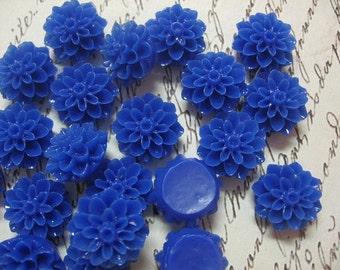 Resin Cabochon Dark Blue Flowers 10