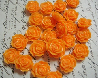 Small Pale Orange Resin Flower Cabochons 13mm