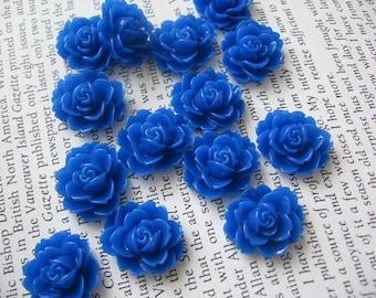 Dark Blue Resin Flower Cabochon 18mm x 16mm