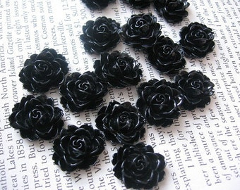 Black Resin Flower Cabochon 18mm x 16mm