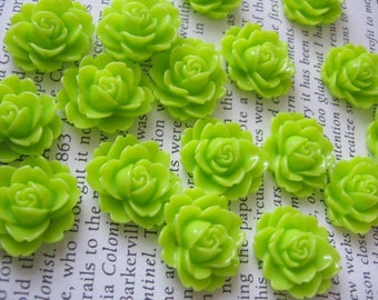 Neon Green Resin Flower Cabochon 18mm x 16mm