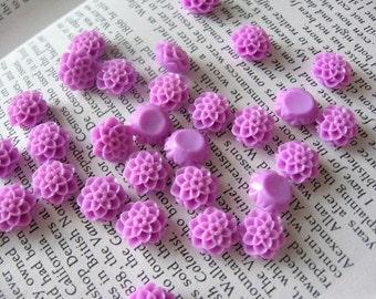 Resin Cabochon Light Purple Flowers 10mm