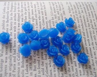Tiny Translucent Royal Blue Resin Flower Cabochons 10mm