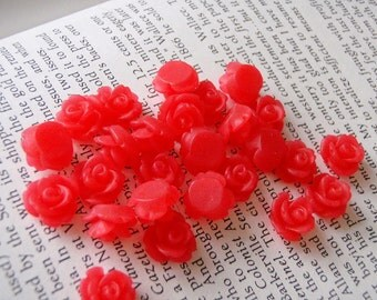 Tiny Translucent Red Resin Flower Cabochons 10mm