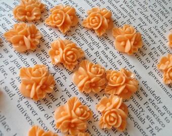 Orange Resin Flower Cabochon 16mm x 16mm