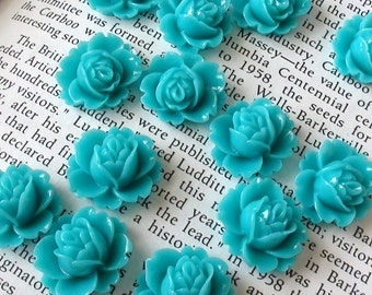 Teal Resin Flower Cabochon 18mm x 16mm