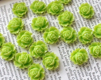 Lime Green Resin Flower Cabochon 18mm x 16mm