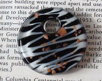 Black and Gold Lampwork Murano Style Donut Pendant
