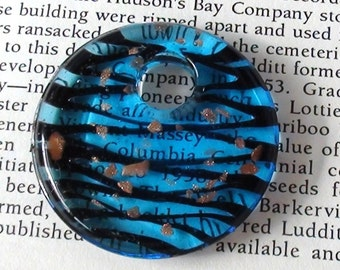 Blue and Gold Lampwork Murano Style Donut Pendant