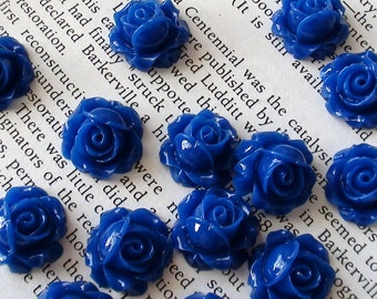 Royal Blue Resin Flower Cabochon 15mm x 8mm