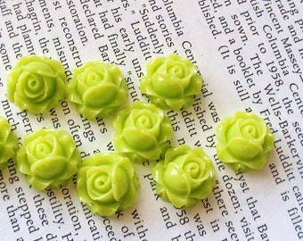 Lime Green Resin Flower Cabochon 15mm x 8mm