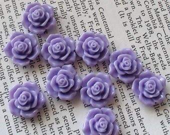 Purple Resin Flower Cabochon 16mm