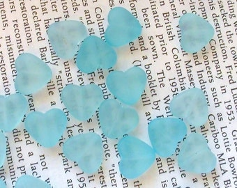 Frosted Translucent Heart Shaped Acrylic Beads 12mm -Light Blue