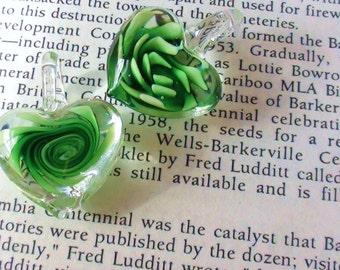 2 Green Lampwork Heart Shaped Glass Pendants