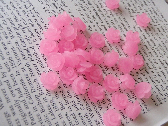Tiny Translucent Bright Pink Resin Flower Cabochons 10mm