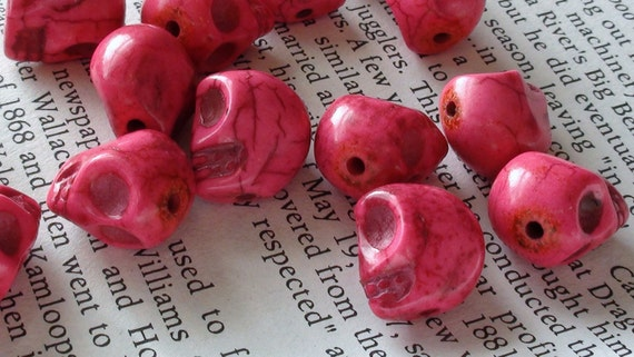 Super Cute Dyed Pink Skull Beads 12mm x 10mm