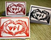 Sign Language ASL  I LOVE YOU Valentine's Day card, original block print, 4x6